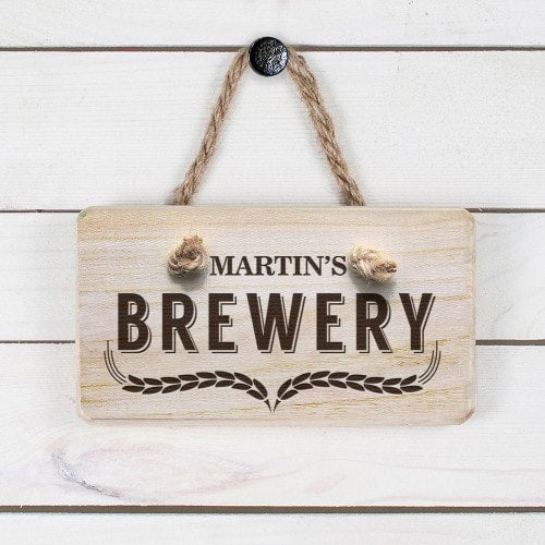 rectangular wooden sign personalised with Martins Brewery