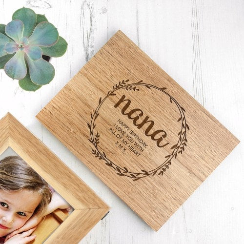 wooden keepsake box with message to nana on lid