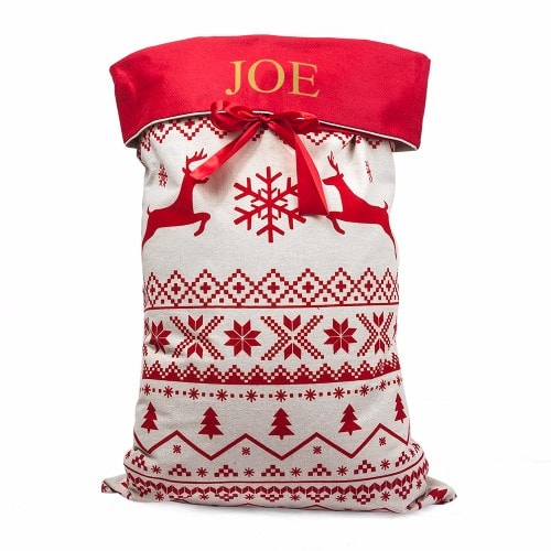 white and red xmas reindeer designed santa sack with childs name