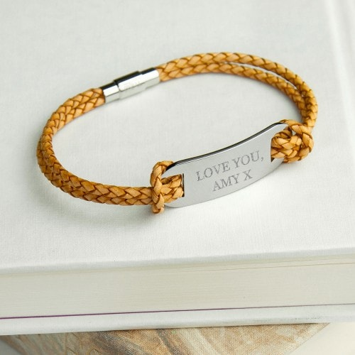 mens statement leather sandstone bracelet with engraved tag