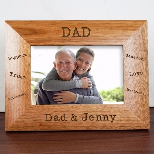 wooden photo frame personalised with dad qualities around the edge