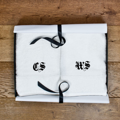 set of two handtowels with medieval font initials