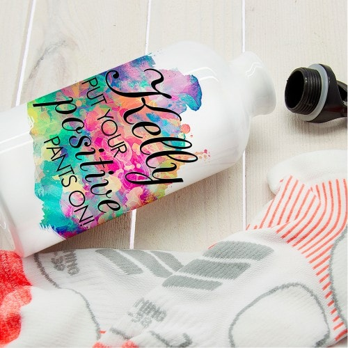 metal waterbottle with vibrant  colour mix and personalised message