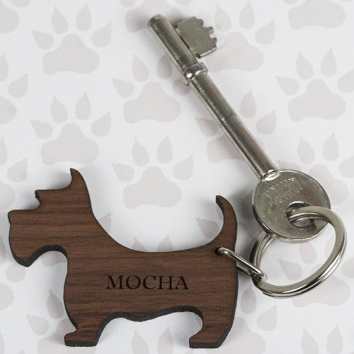 wooden scotty dog keyring with name