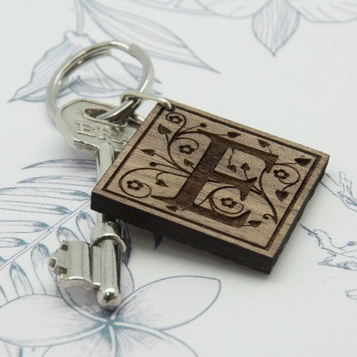 wooden decorative initial keyring with E