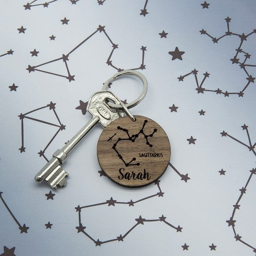circular wooden zodiac keyring with star sign