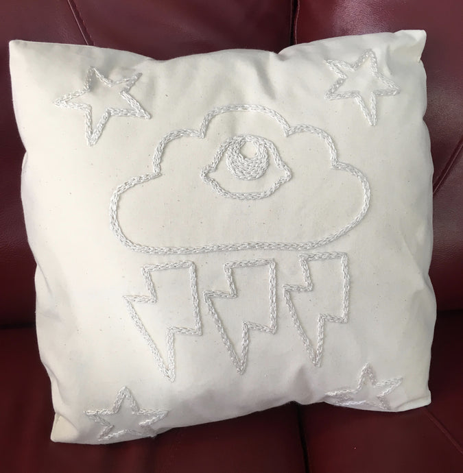 Strange Weather Embroidered Pillow