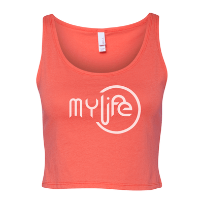 My Life White Logo Women's Cropped Tank - My Life Fitness