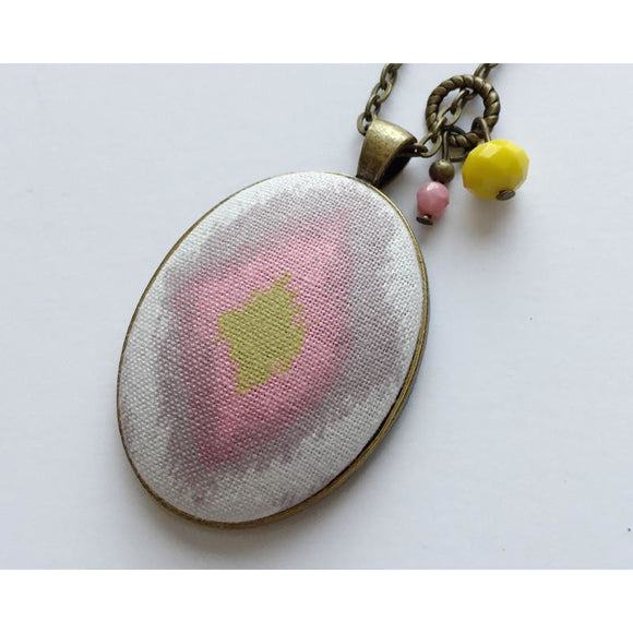 Ikat fabric pendant necklace