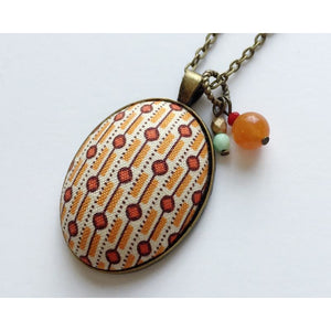Geometric fabric pendant necklace