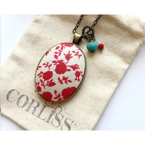Red Floral fabric pendant necklace