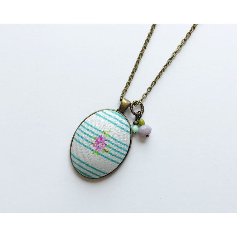 Stripes with Mini Floral fabric pendant necklace