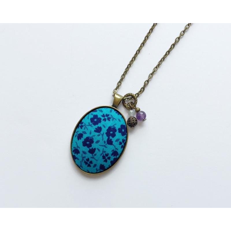 Teal/Blue Floral fabric pendant necklace