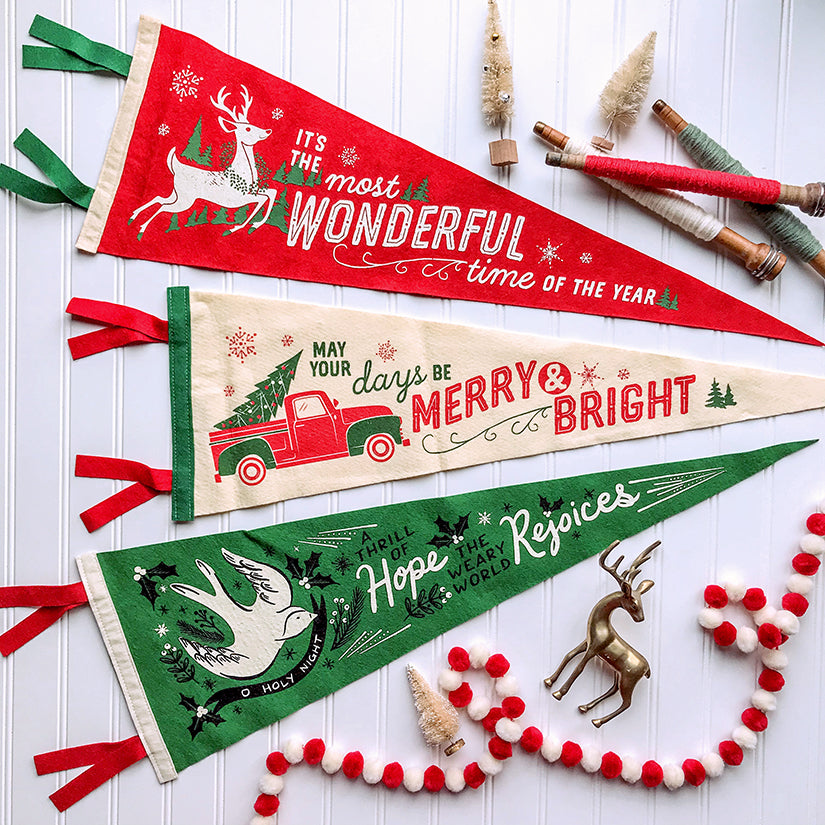 Merry & Bright pick up truck - Printed Wool Pennant