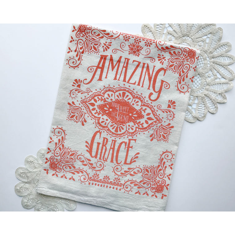 Amazing Grace Ornamental Hymn Tea Towel