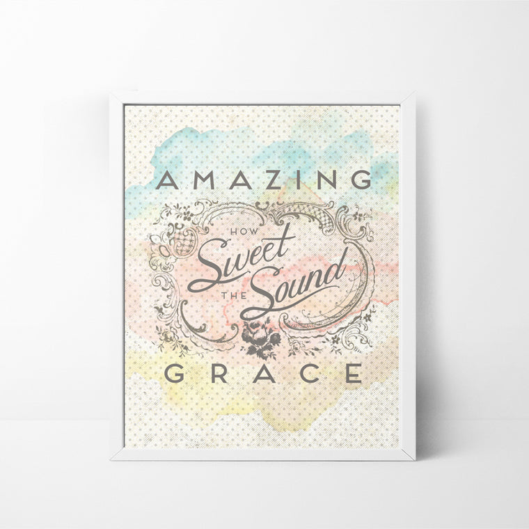 Amazing Grace - watercolor, aged, worn texture 8x10 art print