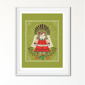 Folk Art Christmas Angel Art Poster Print