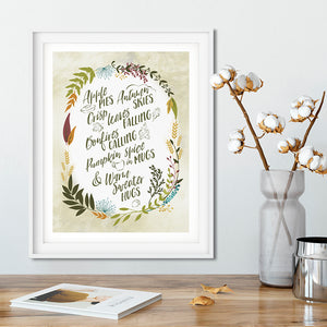 Fall / Autumn / Pumpkin Spice Art Poster Print