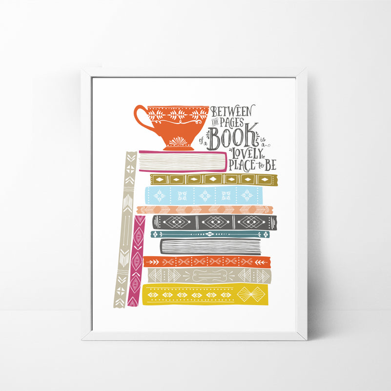 Book Stack - Book Lover 8x10 art print