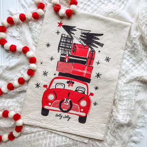 Christmas Car Christmas/Holiday Tea Towel
