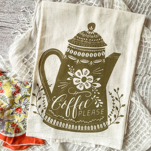 Coffee Please Tea Towel