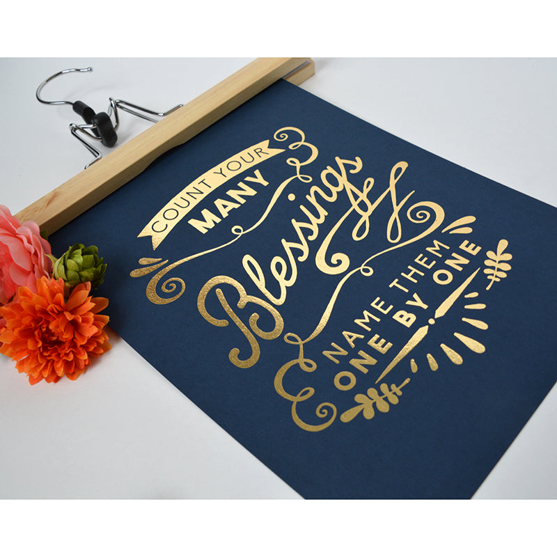 Count Your Many Blessings - Gold Foil 8x10 art print