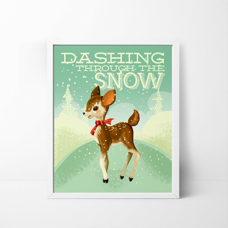 Dashing Through the Snow Deer 8x10 Christmas / Holiday art print