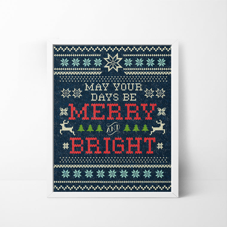 Merry & Bright Fair Isle Sweater 8x10 Christmas / Holiday art print