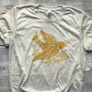 Folk Floral Bird T shirt