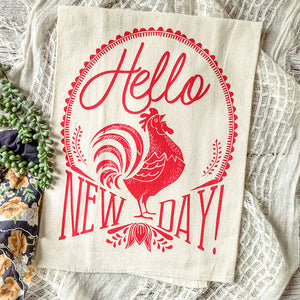 Hello New Day! Bright & Cheery Rooster Tea Towel