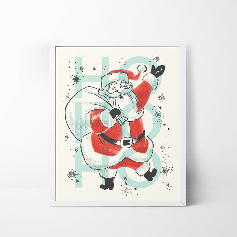 Ho Ho Ho Santa 8x10 Christmas / Holiday art print