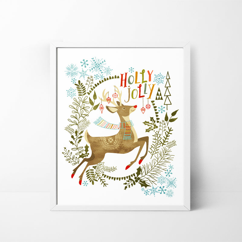 Holly Jolly Deer 8x10 Christmas / Holiday art print