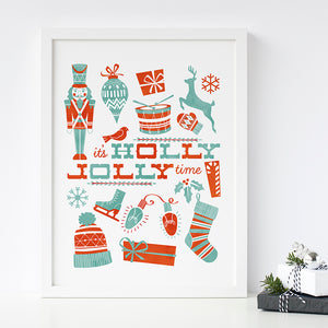 Holly Jolly Christmas Elements Art Poster Print