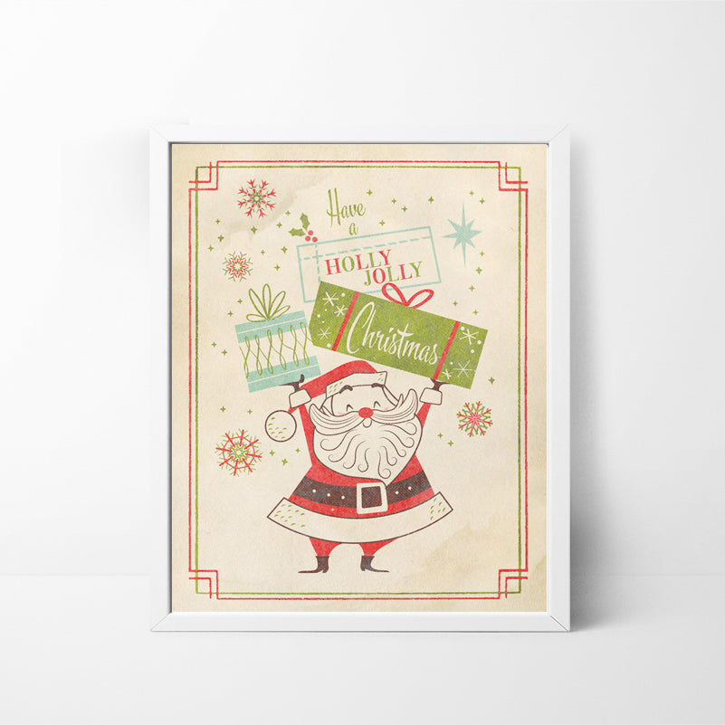 Have a Holly Jolly Christmas Santa 8x10 Christmas / Holiday art print