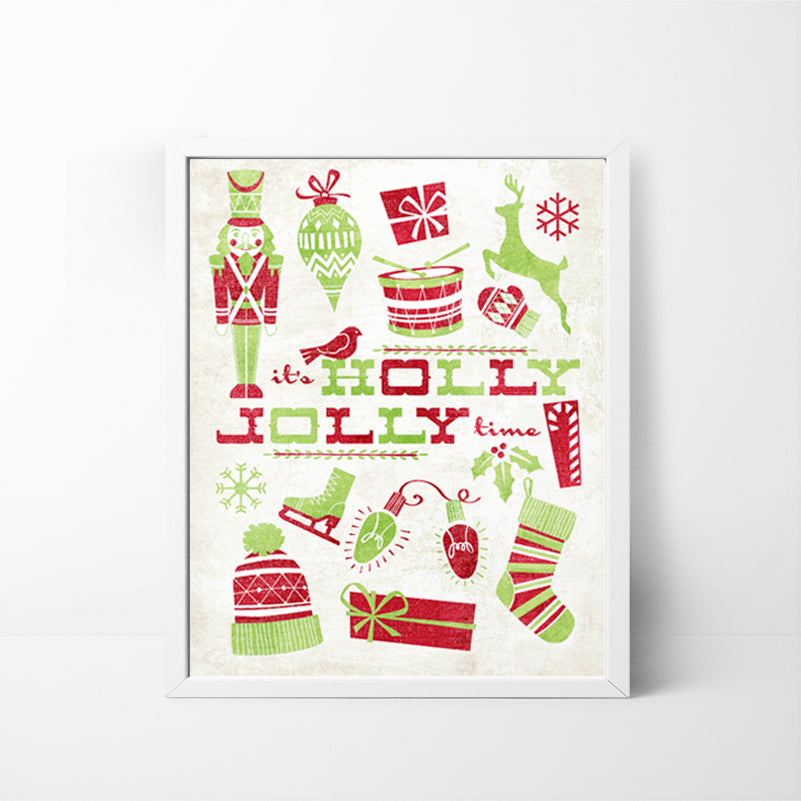It's Holly Jolly Time 8x10 Christmas / Holiday art print