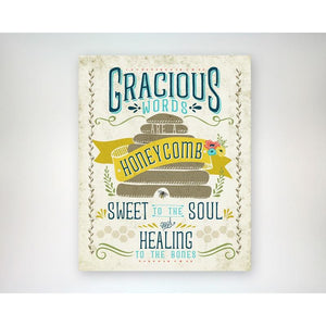 Gracious Words are a Honeycomb 8x10 art print