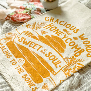 Gracious Words / Honeycomb / Bee Proverbs Tea Towel
