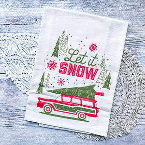 Let it Snow Vintage Wagon Christmas/Holiday Tea Towel