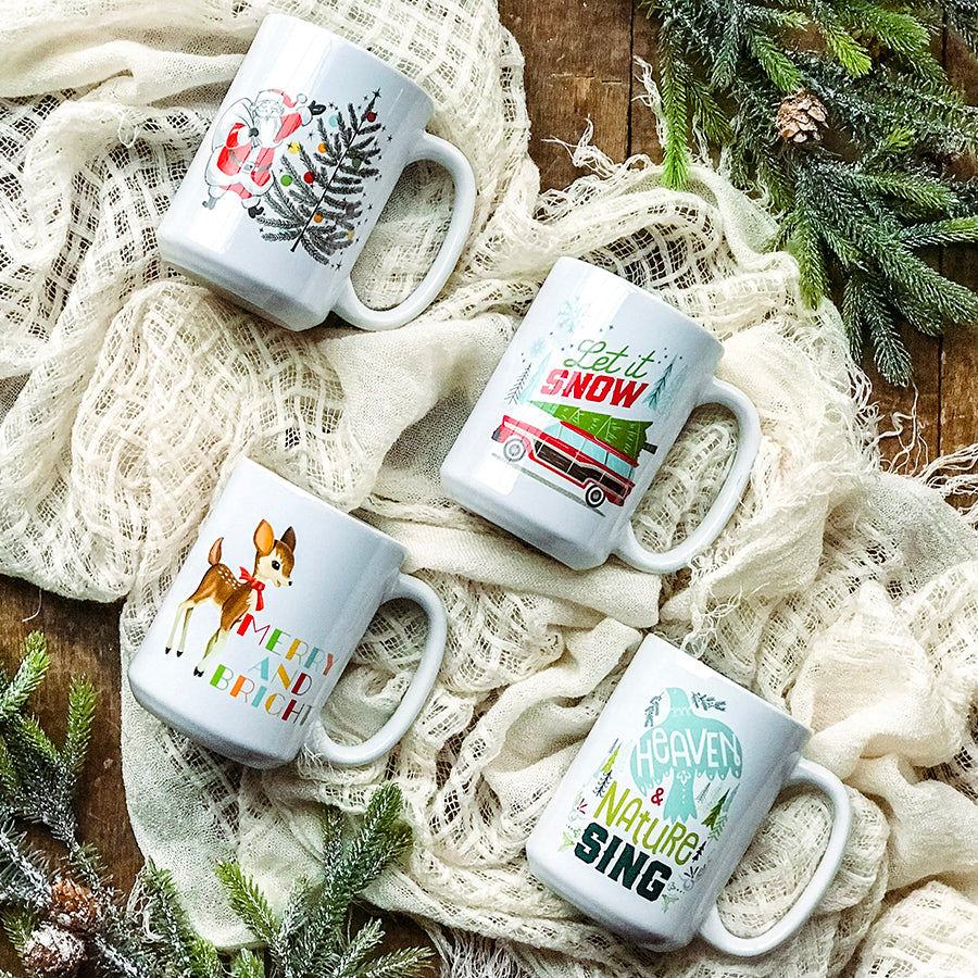 Let it Snow Station Wagon Tree Mug
