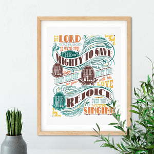 Mighty to Save Art Poster Print