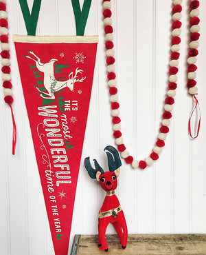 It's the Most Wonderful Time of the Year Reindeer - Printed Wool Pennant