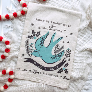 O Holy Night Bird Christmas/Holiday Tea Towel