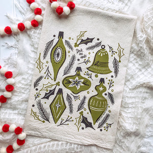 Vintage Ornaments Christmas/Holiday Tea Towel