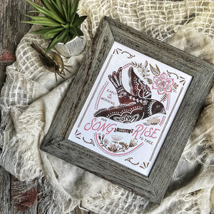 Our Song Shall Rise to Thee - illustrated hymn, bird, floral 8x10 art print