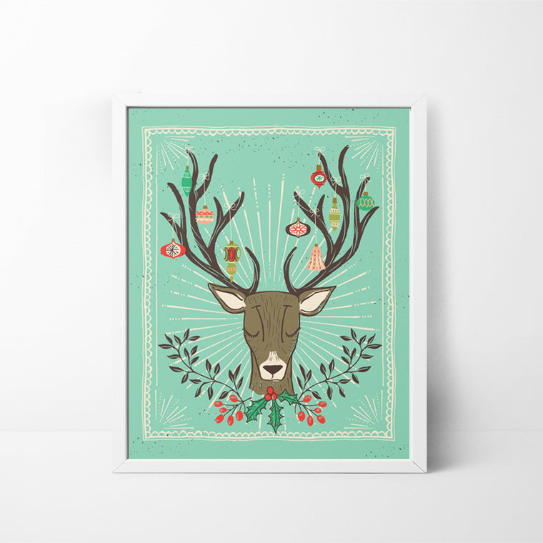 Reindeer, Antlers and Ornaments 8x10 Christmas / Holiday art print