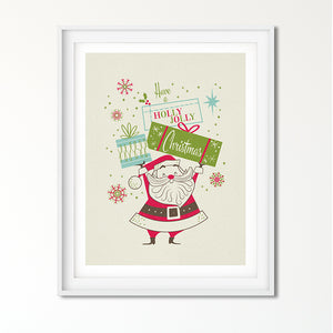Holly Jolly Santa with Presents Art Poster Print