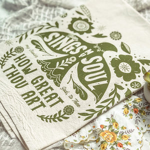 Then Sings My Soul Folk Art Bird Tea Towel