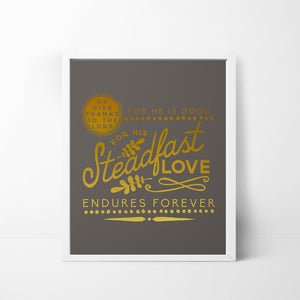 Give Thanks to the Lord / Steadfast Love - Gold Foil 8x10 art print