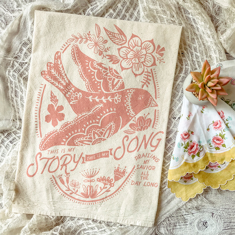 This is my Story, This is my Song Bird Hymn Tea Towel