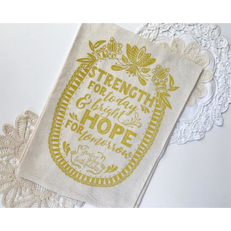 Strength for Today, Bright Hope for Tomorrow Oval Hymn Tea Towel